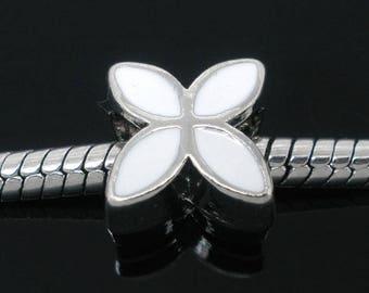 1 Pearl 4 petals Bracelet Charms 13x10mm white enamel flower charms