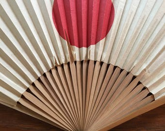 Vintage Paper and Bamboo Japanese Flag and Mout Fuji Fan