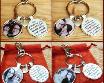 Personalised photo keyring with message