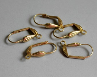 50pcs Raw Brass Leverback Earring Findings with Shell 16mm x 10mm- F40