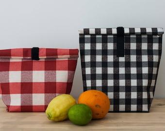 Set of 2 reusable food bag. Adult lunch bag. Lunch tote. Sandwich bag. Lunch bag. Lunch box.