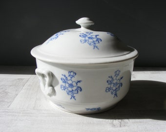 Romantic French Vintage Tureen with a blue floral pattern.Saint VALLIER.