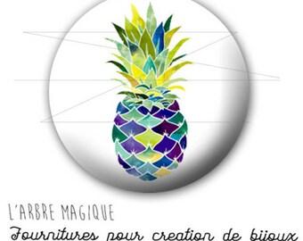 Cabochon 25 mm pineapple fruit fantasy exotic ref 1740