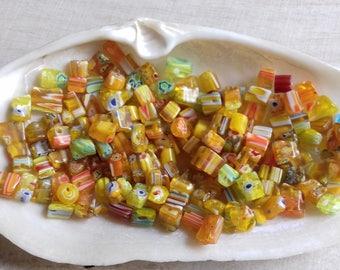 40 beads yellow Millefiori glass 4-8 mm