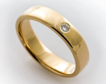 Her Gold Engagement, Simple Engagement, Her New Engagement, Simple Gold Ring, Flush Set Diamond, Conflict Free Flush Set Solitaire Ring