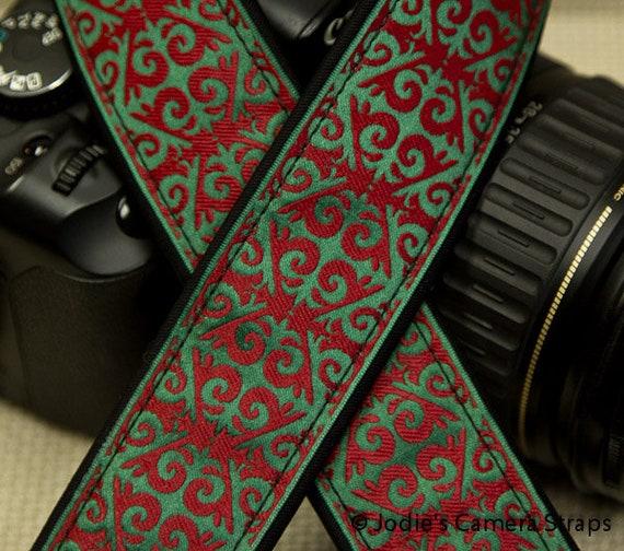 "Camera Strap Arabesque Red Green in 1.5"" Wide Custom Padded Fits DSLR SLR 3667"
