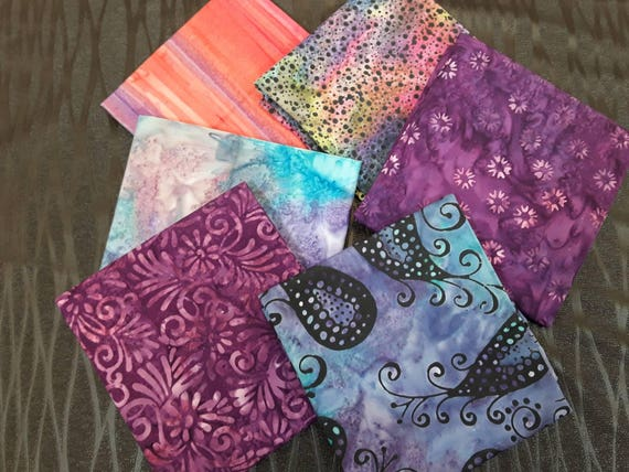 Batik Fabric Bundle of 6 Half Yards Hand Cut in Calamity Quilter's Studio. Mauve, Purple, Orange, Blues, Swirls, Dots, Flowers HY6MPOB