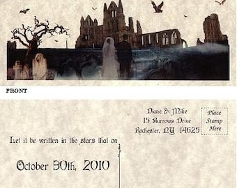 qty 25 Halloween, costume, wedding, anniversary, birthday, Party Gothic Favors Save The Date Post Cards