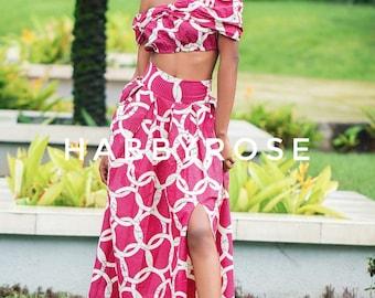 Soni crop top and maxi skirt set,  African top, African skirt, Maxi skirt, African fabric, African clothing, Ankara print