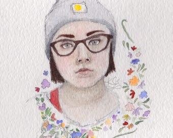Custom Portrait, original watercolor commission 5 x 7