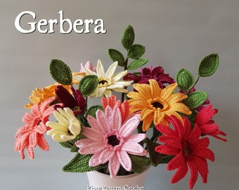 Crochet Gerbera Flower Pattern Plant  Decoration Home Garden