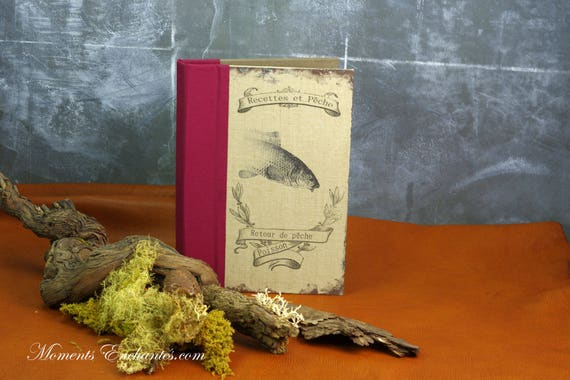 Fish recipes book note book organizer recipies Menu linen cooking blank pages or not