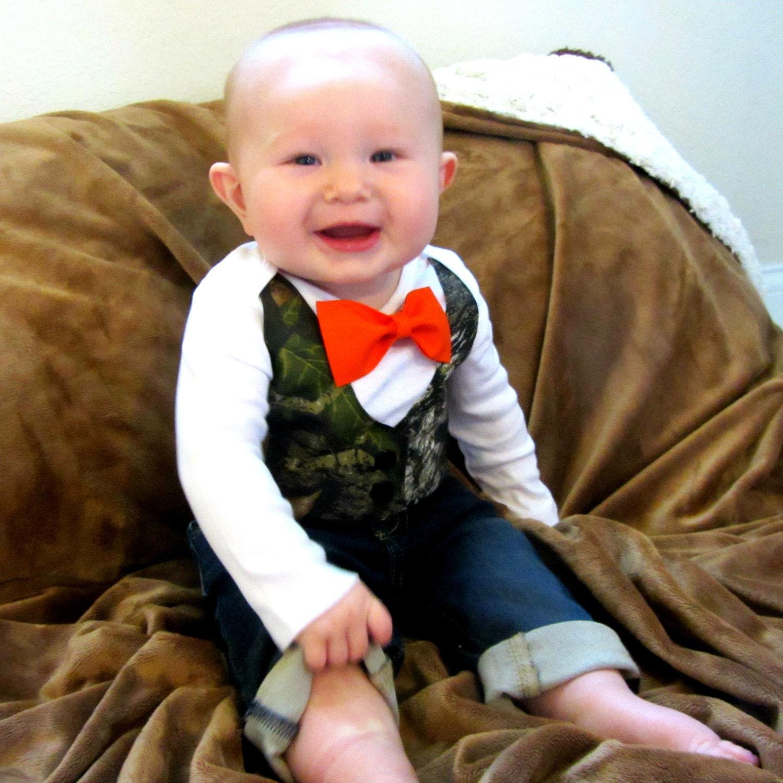 Baby Boy Clothes Baby Camouflage Orange Bow Tie Camo Vest