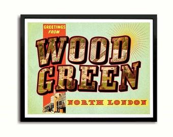Wood Green Postcard Style Art Print