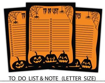 Editable Halloween To-Do List,Notepad,To Do List & Notes,Check List,To Do List Printable #note002