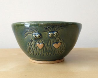 Monster Love - 12 oz Bowl - Green shiny stoneware bowl with two monsters and hearts