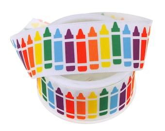 Colorful Crayons White Grosgrain Ribbon, 1-1/2-Inch, 3-Yard