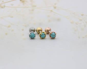 Turquoise Cartilage earring/Piercing/Tragus piercing/Cartilage piercing/Earring/Helix piercing/conch piercing/Gemstone earring/Tragus stud