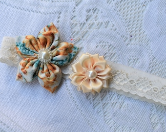 Double Flower Headband - Butterflies and Blooms Summer Collection