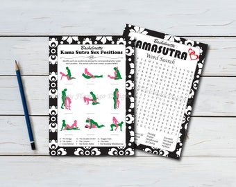 Two Pack, Bachelorette Party Games, Guess The Position and Kama Sutra Word Search - Printable - Instant Download - Black and White T127D