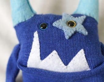 Sock Monster – Aqua & Royal – Pocket Size
