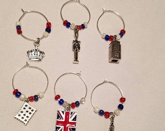 Royal Wedding Wine Charms; British Charms; Celebrate Harry & Meghan; Set of 6; Crown; Beefeater; Phone Booth; Biscuit; Royal Jack; Big Ben
