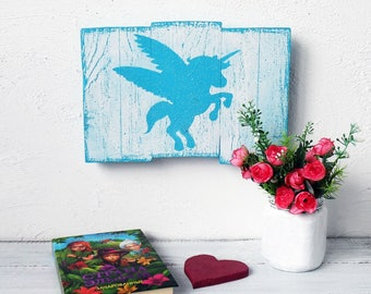 Blue Unicorn nursery decor Unicorn decor wall art Unicorn sign wood Unicorn room decor Unicorn gift wall decor Blue Unicorn baby nursery