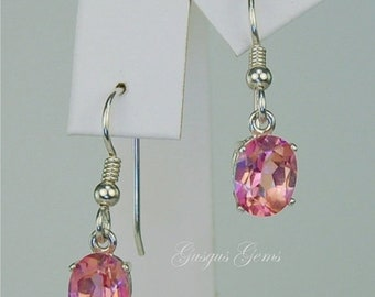 MothersDaySale Pink Mystic Topaz Dangle Earrings Sterling Silver 9x7mm Oval 4.95ctw