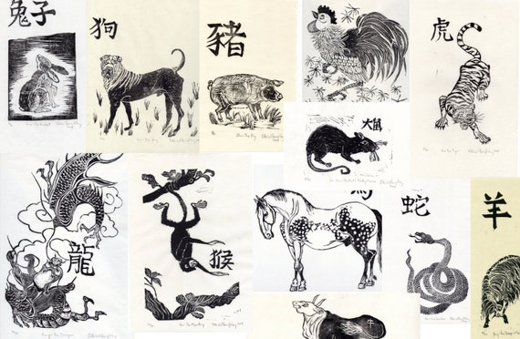 Complete set of 12 chinese zodiac linocut prints set of