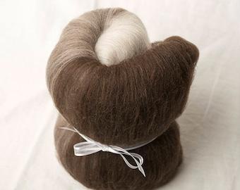 Natural Merino mini gradient batt from light brown to dark brown, perfect for spinning or felting (170112)