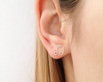 Music Note Earrings, Sterling Silver Studs, Mininalist Earrings, Dainty Earrings, Birthday Gift, Gifts For Teenagers, Song Earrings
