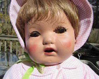Sweet Composition Doll with Summer Dress and Bonnet