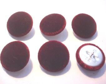"""6 Burgundy Silk Velvet 7/8"""" Covered Buttons"""