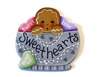 Ginger in Bowl with Candy Hearts Ornament or Fridge Magnet, Handpainted Wood, Hand Painted Gingerbread Refrigerator Magnet, Valentine's Day