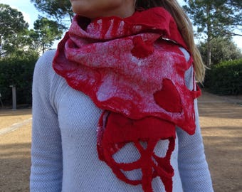 Red scarf with hearts  gift for her Nuno felted scarf Merino wool scarf warm wool wrap lover gift red shawl