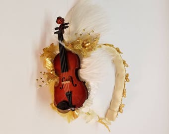 Ivory and Gold Violin Headband