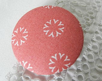Floral pink fabric button, 40 mm / 1.57 in