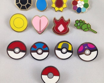 Pokemon Kanto Gym Badges GO Metal Pins Set