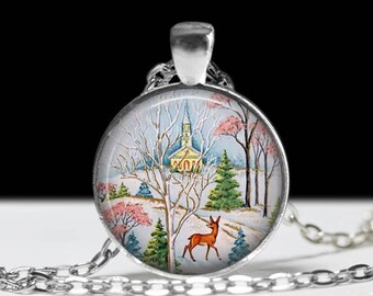 Retro Christmas Necklace Christmas Necklace Christmas Jewelry Christmas Pendant