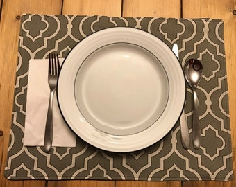 Patterned grey & white / black Placemats