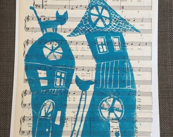 Here Kitty Kitty on Magical Mystery Tour vintage sheet music linocut