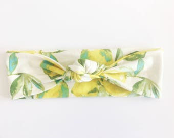 Lemon Top Knot Headband / Knotted Headband / Baby Turban / Baby Gift / Toddler Headband / Macie and Me / Adult Headband