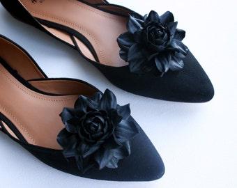 Black Leather Rose Flower Shoe Clips