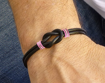 Mens Breast Cancer Awareness Celtic Love Knot Bracelet, Black and Pink Breast Cancer Bracelet, Mens Leather Bracelet, Hope Bracelet