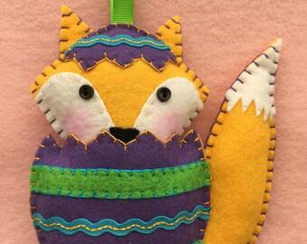 Felt EasterEggFox Ornament
