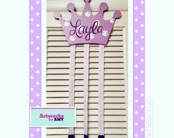 Princess Crown Bow and Barrette Holder