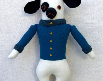 Black and White Dog Boy in Blue-Green jacket doll plush wool