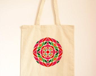 Watermelon Tote Bag/ Geometric Canvas Bag/ Casual Day Bag/ Pink and Green/ Islamic Design/ Printed Tote/ Fabric Bag