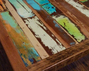 Colorful Boat Wood Inspired Dining Table Made With Vintage Panel Doors Custom Reclaimed
