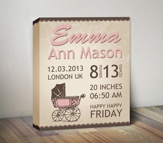 Retro baby birth stats announcement canvas baby girl like this item negle Gallery